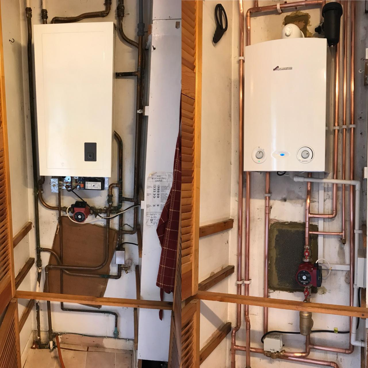 Before and after Ri boiler installation.